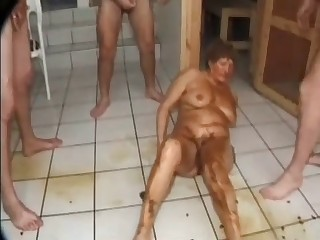 Fat slut covered in scat