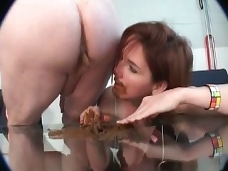 Filthy slut is enjoying her shit