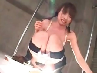 Asian schoolgirl is eating tasty scat