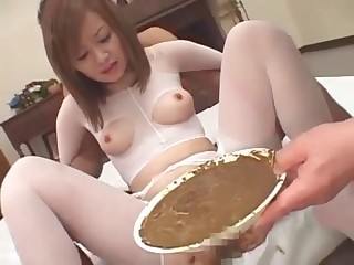 Japanese whore is eating shit