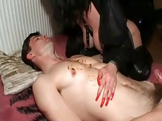 Leather slut and scat slave
